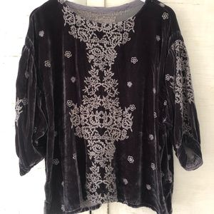 Johnny Was Regan Velvet Blouse NWT